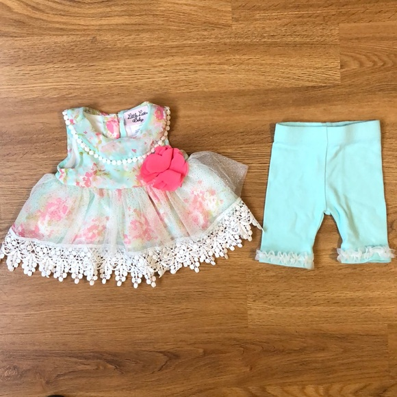 Little Lass Baby Blue Floral Outfit 0-3 Months